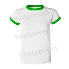 Футболка для сублимации мужская,  с зеленой каймой, БЗ