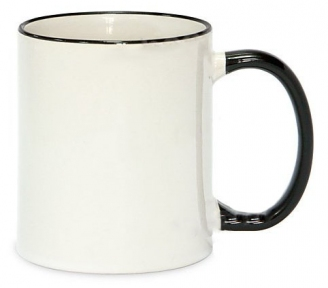 Кружка з кольоровою ручкою і каймою, чорна, Two Tone Mug