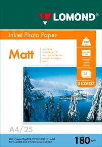 Односторонній матовий фотопапір для струменевого друку, A4, 180 г/м2, 25 аркушів