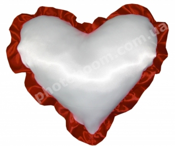 Наволочка в форме «Сердце» для сублимации, с бордовой каймой