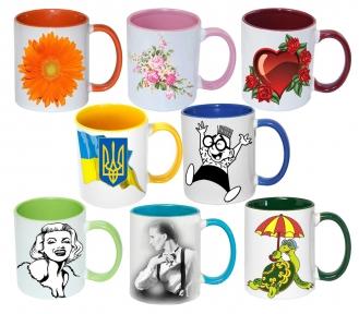 Чашка с Вашим дизайном MUG2T-I, цветная внутри и ручка