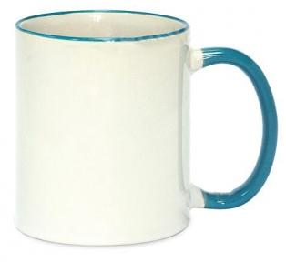 Кружка з кольоровою ручкою і каймою, світло блакитна, Two Tone Mug