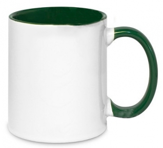 Кружка двухцветная с цветной ручкой, зеленая, MUG2T-I