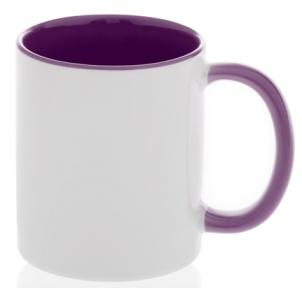 Кружка двухцветная с цветной ручкой, фиолетовая, MUG2T-I