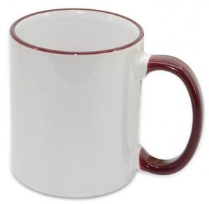 Кружка з кольоровою ручкою і каймою, бордова, Two Tone Mug