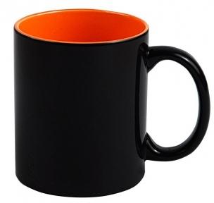 Кружка «Хамелеон» черная глянцевая, внутри Оранжевая