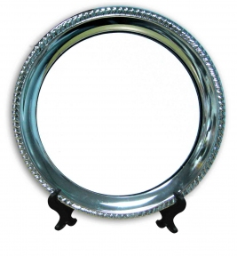 Металлическая тарелка с фигурным тиснением для сублимации, D - 250 мм (площадь запечатки d-190 мм)