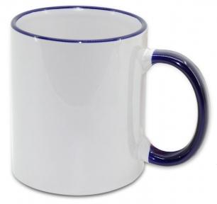 Кружка з кольоровою ручкою і каймою, синя, Two Tone Mug