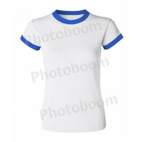 Футболка для сублимации женская, с синей каймой, БЗ
