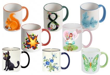 Чашка с Вашим дизайном Two Tone Mug, с цветной ручкой и каймой