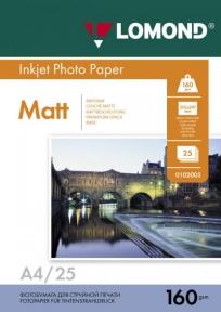 Односторонній матовий фотопапір для струменевого друку, A4, 160 г/м2, 25 аркушів