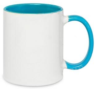 Кружка двоколірна з кольоровою ручкою, світло-блакитна, MUG2T-I