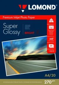 Суперглянцевая ярко-белая микропористая фотобумага для струйной печати, A4, 270 г/м2, 20 листов