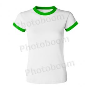Футболка для сублимации женская, с зеленой каймой, XL-XXL