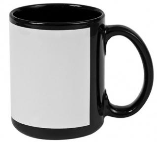 Кружка черная с белым полем для печати