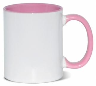 Кружка двоколірна з кольоровою ручкою, рожева, MUG2T-I