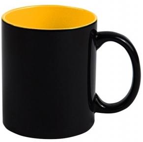 Кружка «Хамелеон» черная глянцевая, внутри Желтая