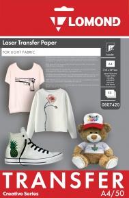 Термотрансферная бумага для лазерной печати, используется для светлых тканей, A4, 150 г/м2, 50 листов
