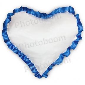 Наволочка в форме «Сердце» для сублимации, с синей каймой