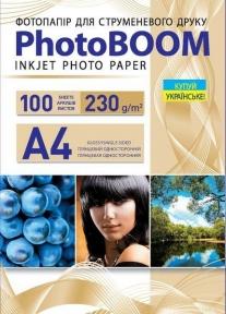 Односторонняя глянцевая фотобумага PhotoBOOM для струйной печати, А4, 230 г/м2, 100 листов