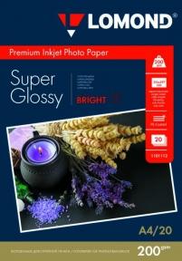 Суперглянцевая ярко-белая микропористая фотобумага для струйной печати, A4, 200 г/м2, 20 листов