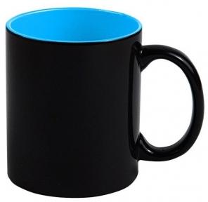 Кружка «Хамелеон» черная глянцевая, внутри Синяя