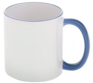 Кружка с цветной ручкой и каймой, голубая, Two Tone Mug