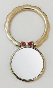 Кольцо держатель самоклеющееся для телефона в форме волнистого круга с бабочкой, светлое золото