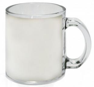 Кружка стеклянная, прозрачная с белой полосой для запечатки 80*178 мм