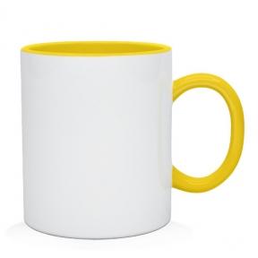 Кружка двухцветная с цветной ручкой, желтая, MUG2T-I