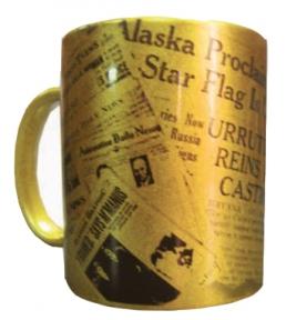 Чашка с Вашим дизайном керамическая, золотого цвета
