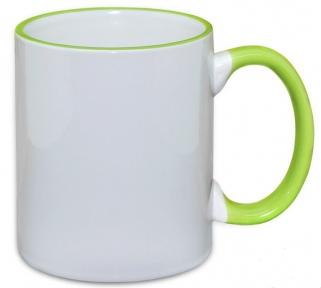 Кружка з кольоровою ручкою і каймою, світло зелена, Two Tone Mug