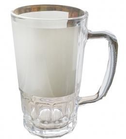 Пивной бокал с Вашим дизайном, стеклянный прозрачный с белой полоской для запечатки
