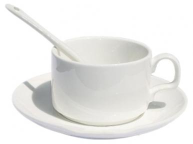 Порцелянова кавова чашка з блюдцем і ложечкою для сублімації
