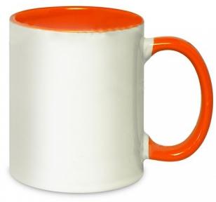 Кружка двоколірна з кольоровою ручкою, помаранчева, MUG2T-I