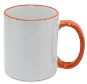 Кружка з кольоровою ручкою і каймою, помаранчева, Two Tone Mug