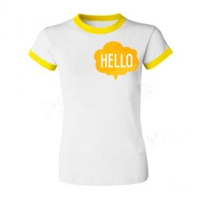 Футболка с Вашим дизайном женская с желтой каймой, формат печати А5 (148х210 мм)