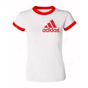 Футболка с Вашим дизайном женская с красной каймой, формат печати А5 (148х210 мм)