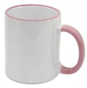 Кружка с цветной ручкой и каймой, розовая, Two Tone Mug