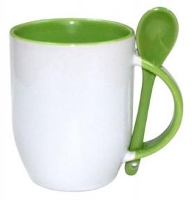 Кружка керамічна для сублімації, з ложкою, світло зелена
