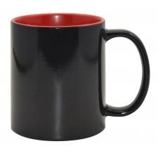 Кружка «Хамелеон» черная глянцевая, внутри Красная