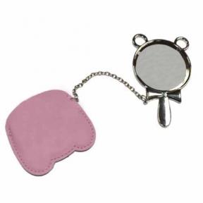 Зеркальце c ручкой в розовом чехле с покрытием для сублимации
