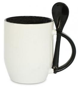 Кружка керамическая для сублимации, с ложкой, черная