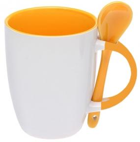 Кружка керамічна для сублімації, з ложкою, помаранчева