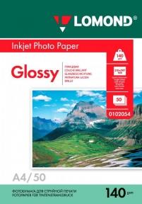Односторонняя глянцевая фотобумага для струйной печати, A4, 140 г/м2, 50 листов